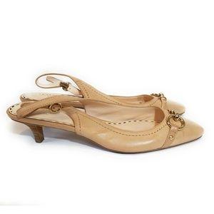 COACH Dakota Tan Leather Kitten Heels Size 8.5